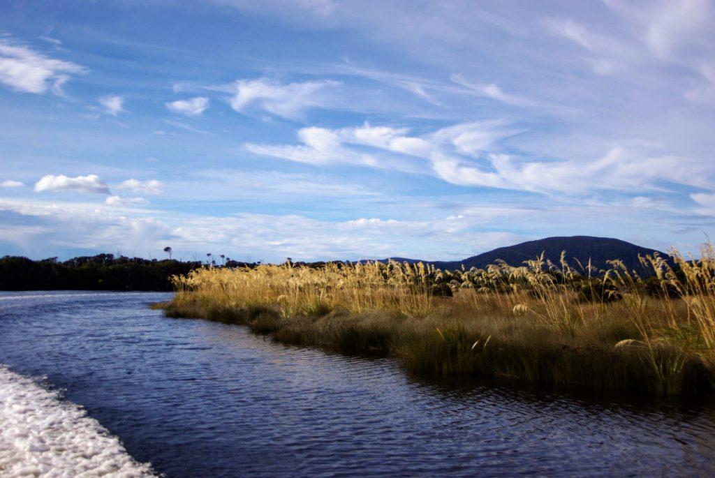 Approche de Freshwater hut en bateau-taxi, Stewart Island, Nouvelle Zélande, leplusbeauvoyage.com