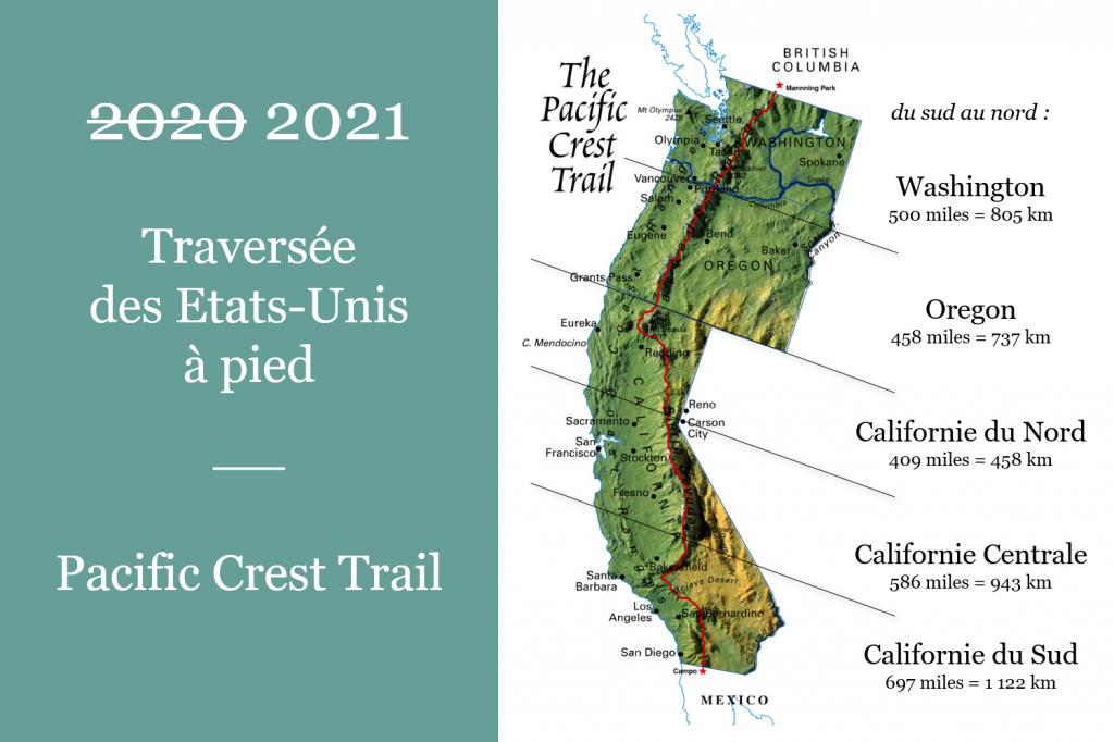 Parcours Pacific Crest Trail. leplusbeauvoyage.com